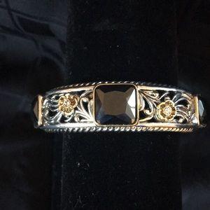 Stunning Silver and Black Stone Bracelet
